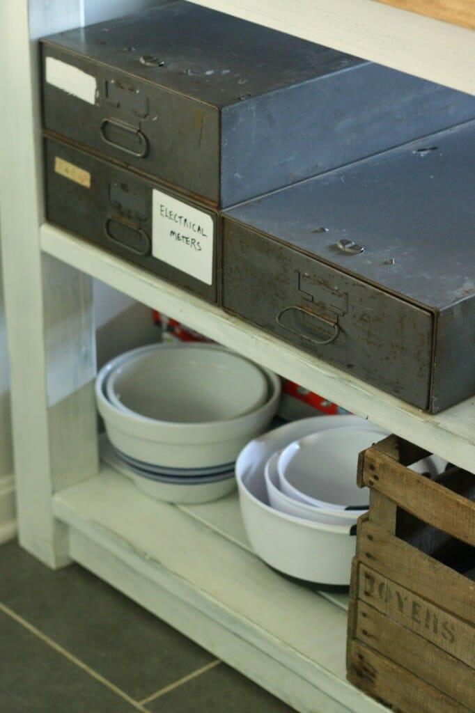 vintage electrical industrial drawers for silverware storage
