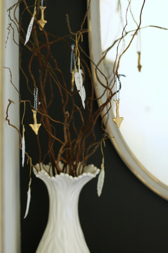 thankful tree with feathers and gold clay arrows