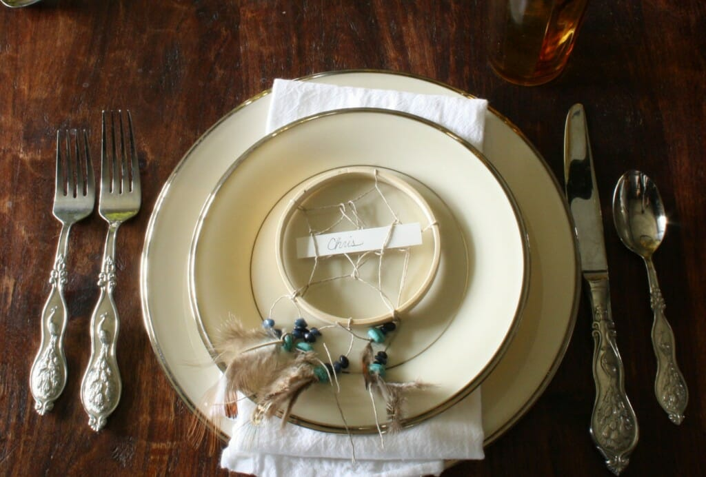 lennox platinum dishes, peacock silverware, DIY dreamcatcher placecard