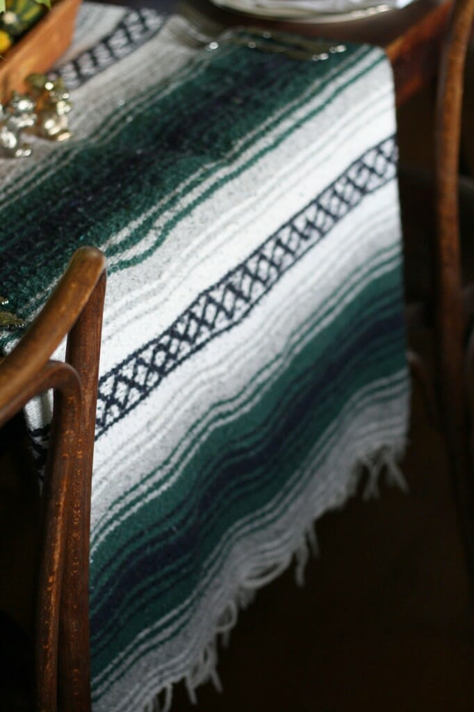use a mexican blanket as a table runner