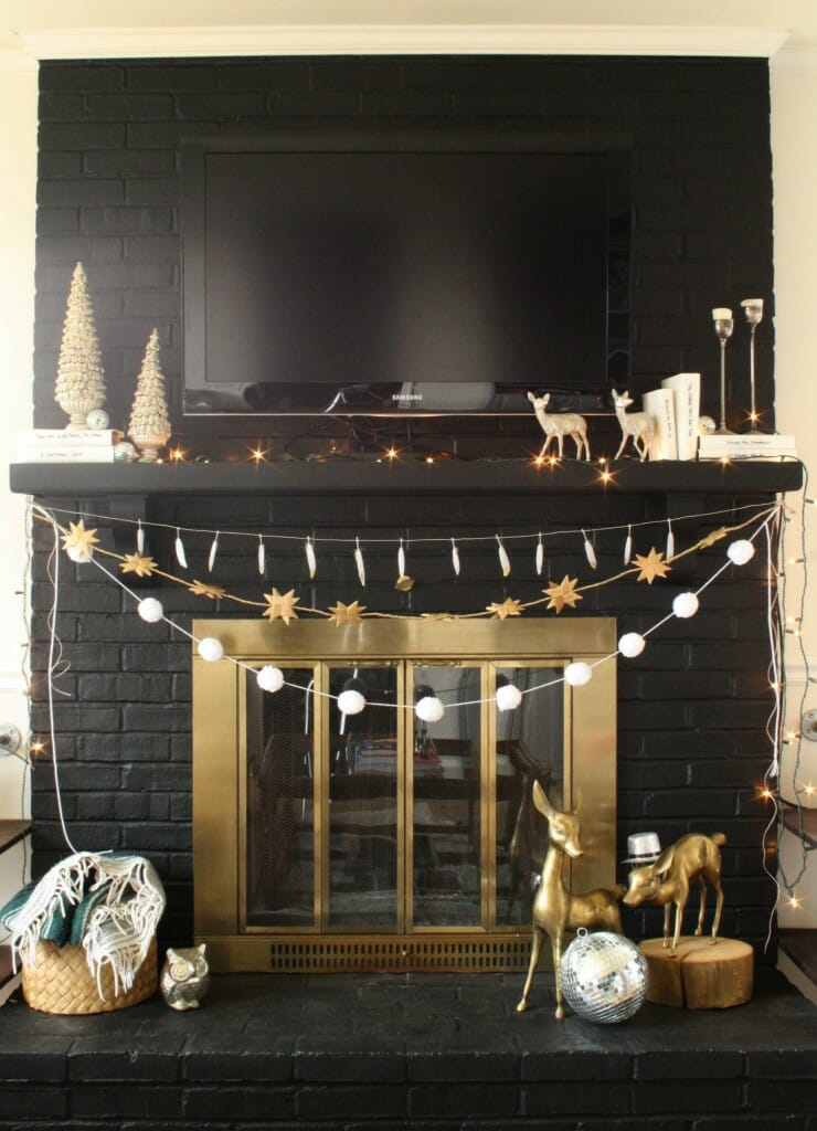 Black, White, and Sparkly Holiday Mantle