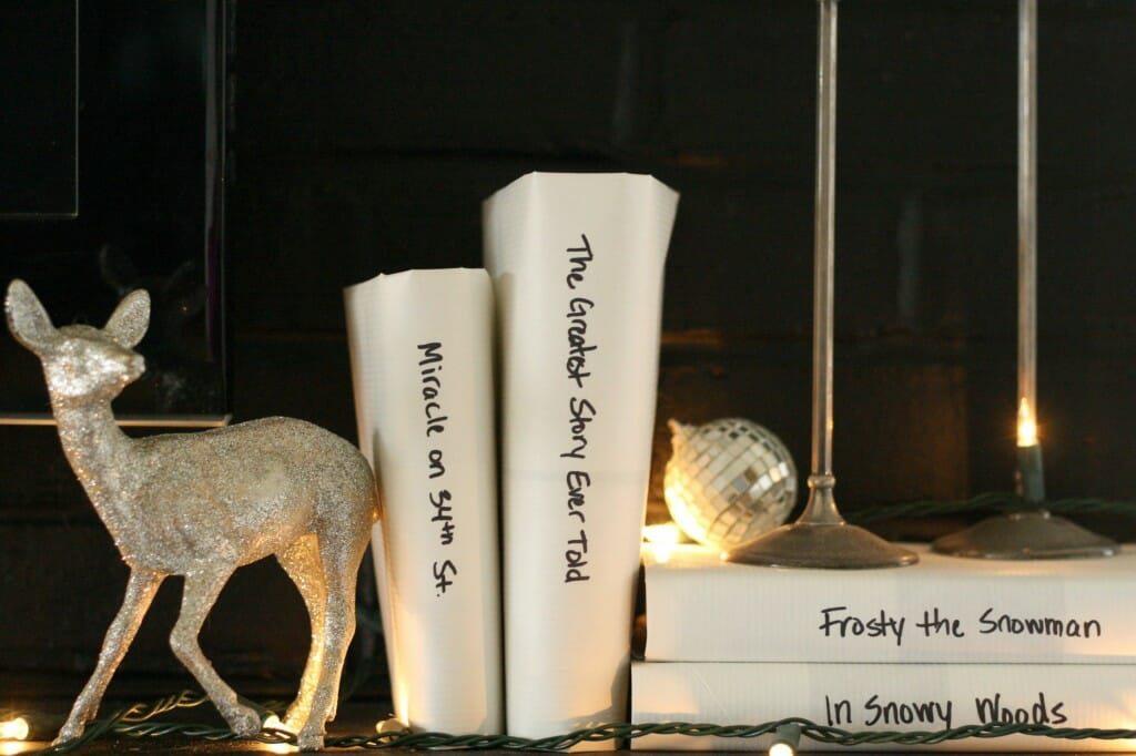 black and white and sparkling holiday mantle with deer