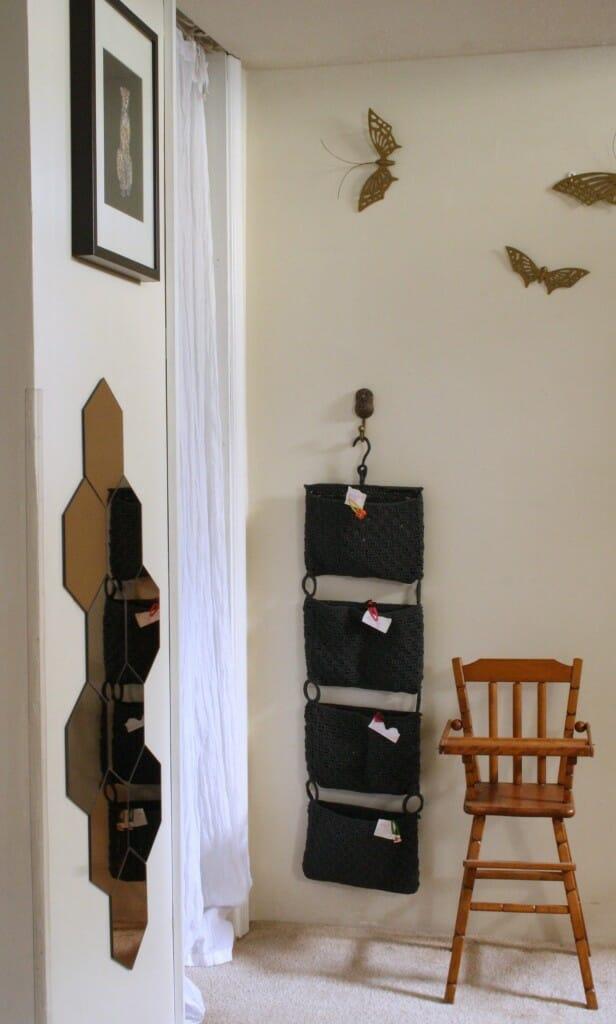 playroom storage and fun mirror