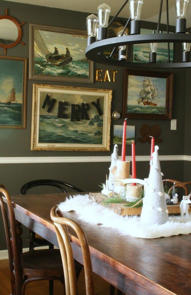 christmas in dining room; merry banner on art