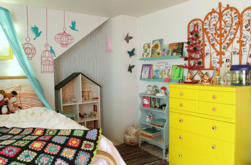 emmy's room with pink tree