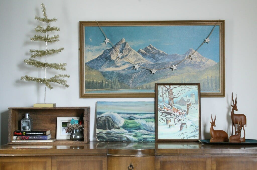 eclectic art mixed with silver gltter and tinsel