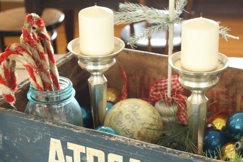 vintage crate filled for christmas