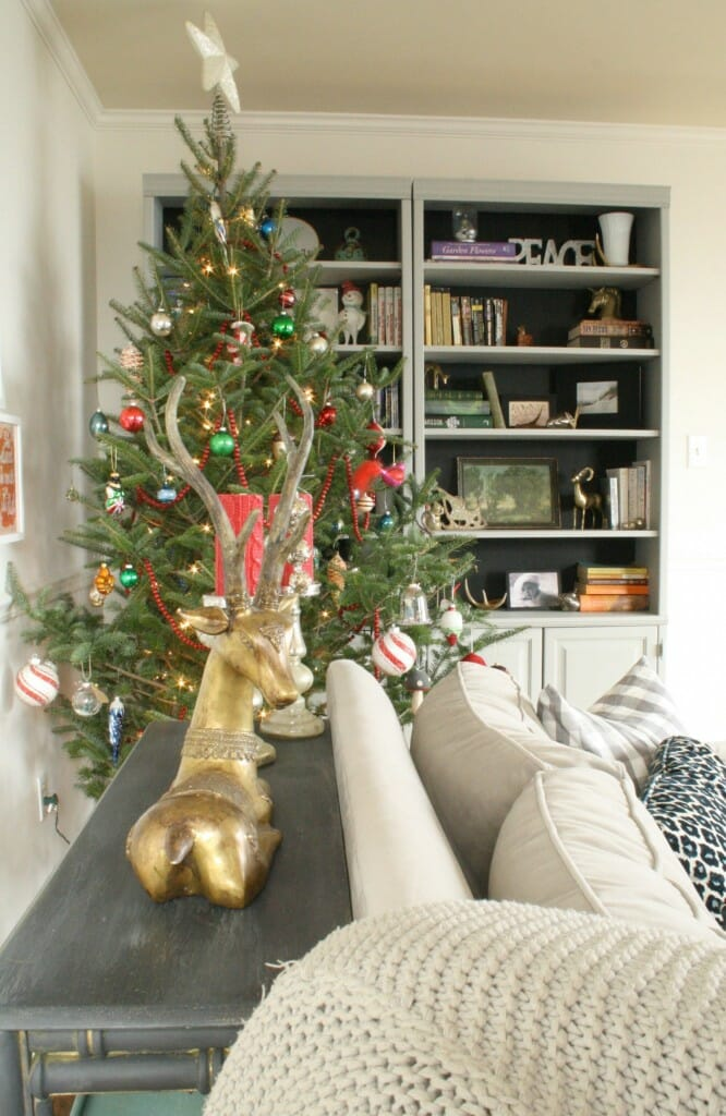 Christmas living room with black backed bookcases