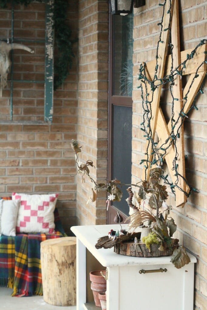 christmas porch with wooden star