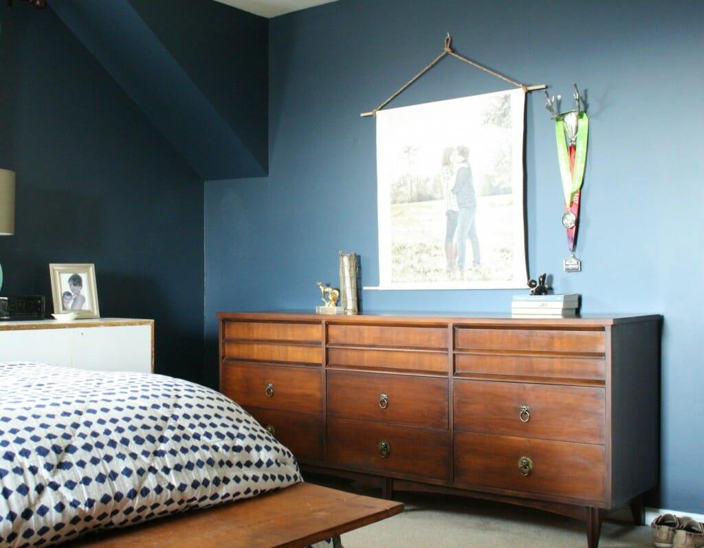 java gel midcentury dresser in  navy bedroom