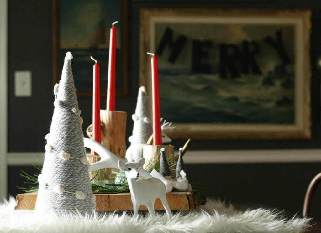 DIY stripped and dipped log candlesticks; winter white rustic and glam centerpiece