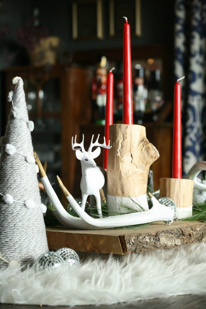 rustic and glam christmas centerpiece