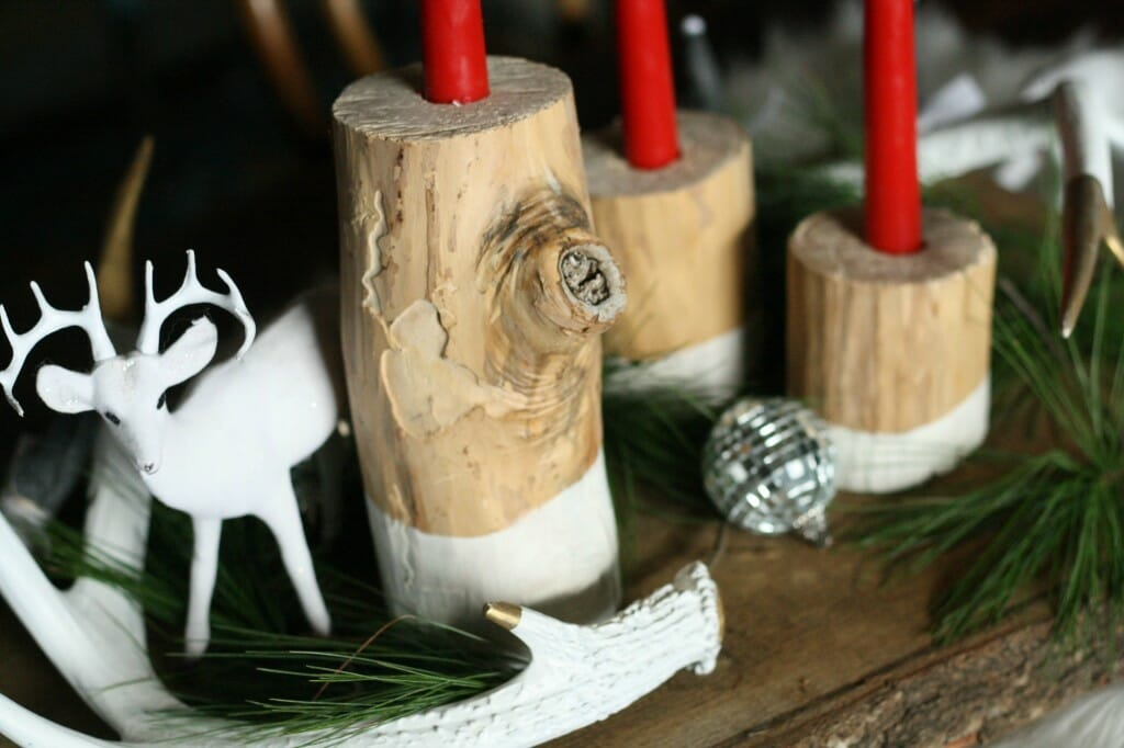 DIY stripped and dipped log candlesticks