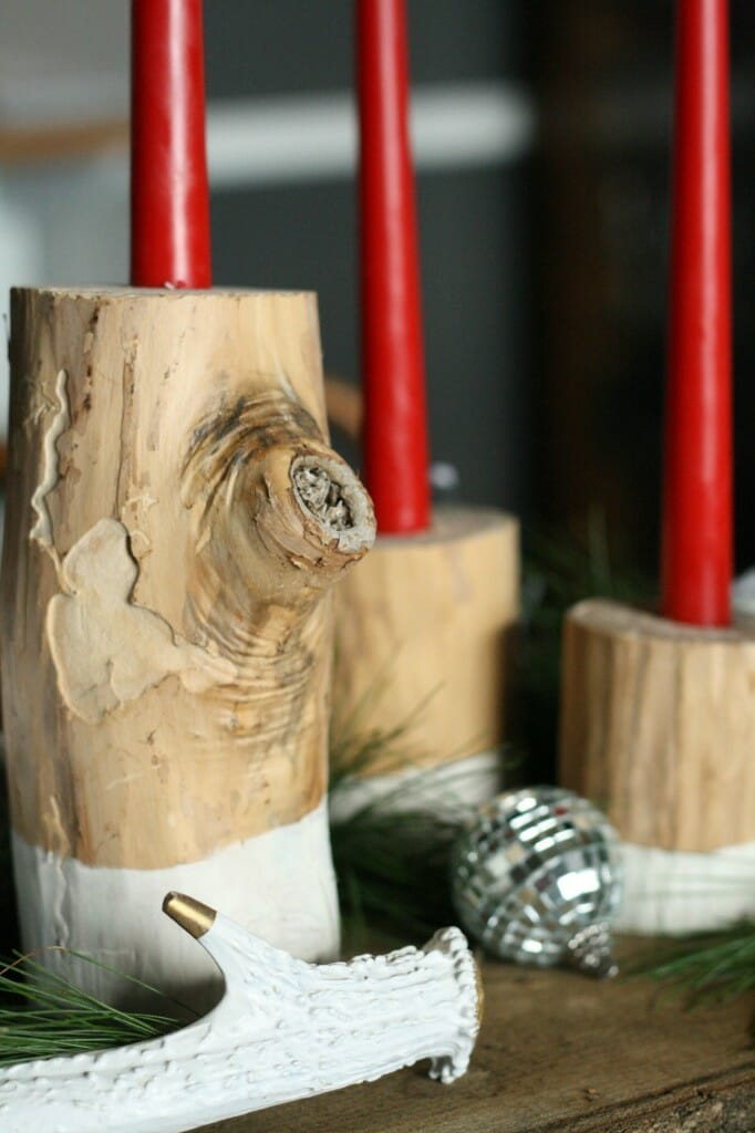 DIY log candlesticks