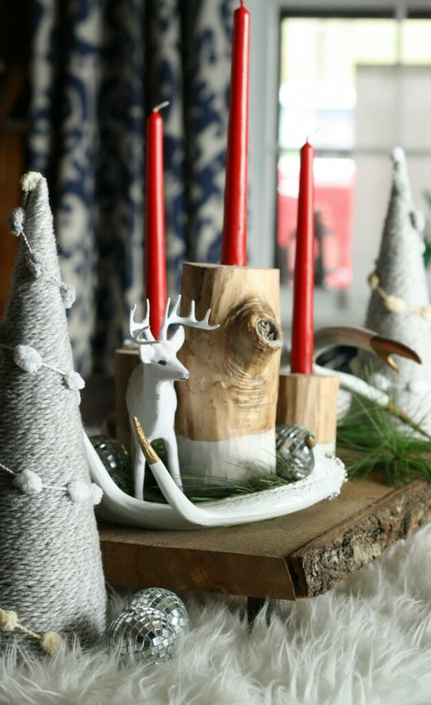 DIY dipped log candlesticks and rustic glam centerpiece