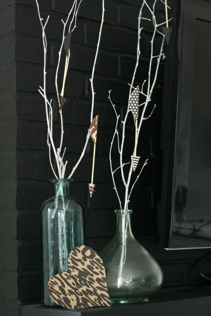 branches with arrows and wild heart valentine's mantle