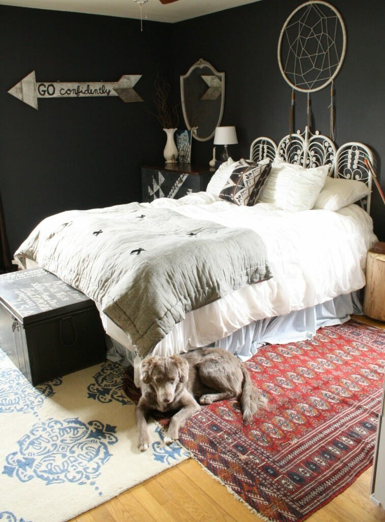 bohemian bedroom with lots of DIY touches
