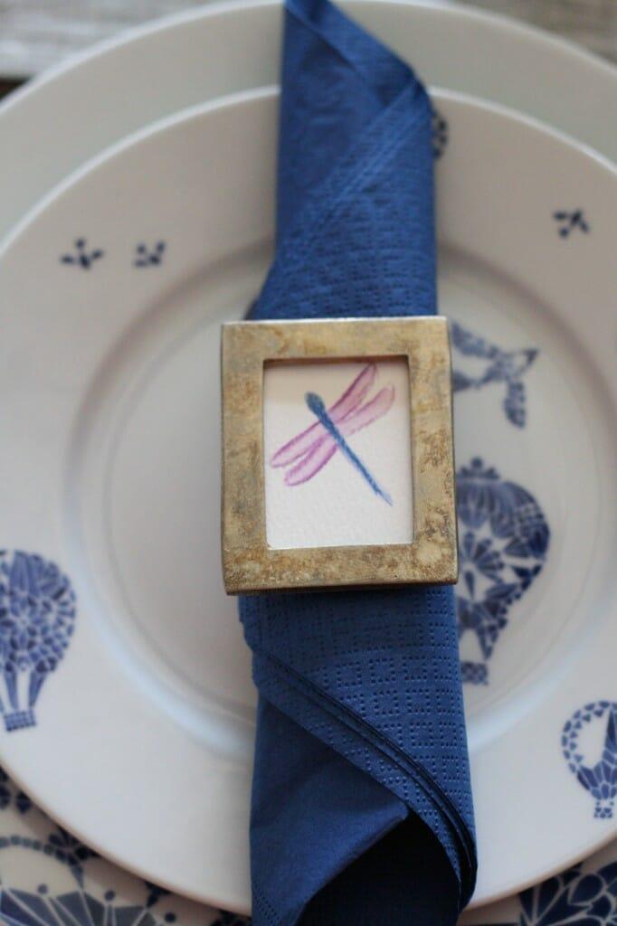 watercolor dragonfly napkin ring