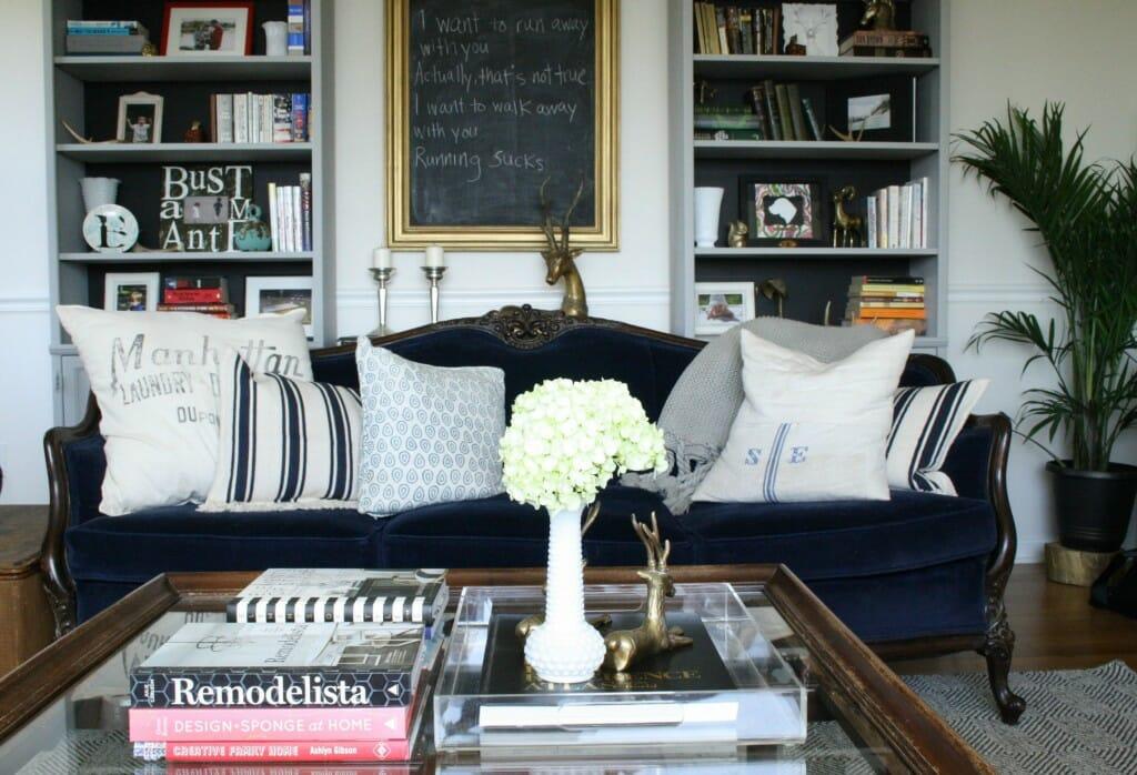 Living Room in Spring; Navy vintage sofa