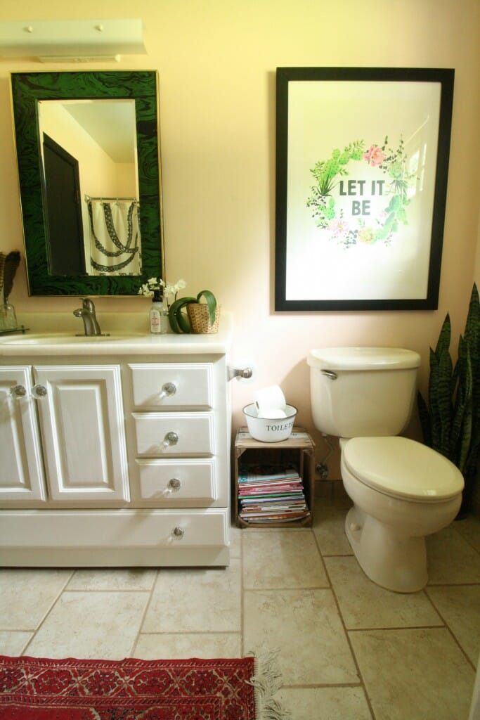 Pale Pink Nature Inspired Bathroom