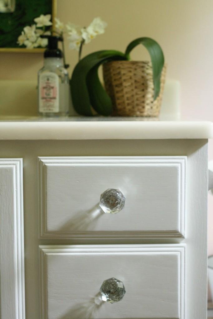 bath vanity painted with swiss coffee