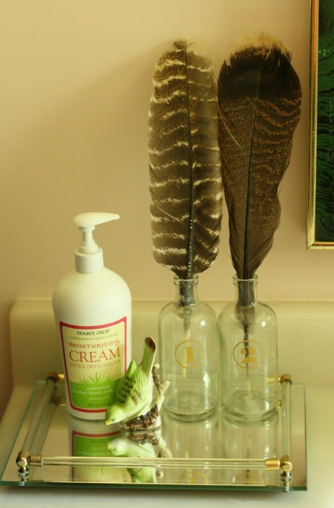 bottles with feathers on vintage lucite tray