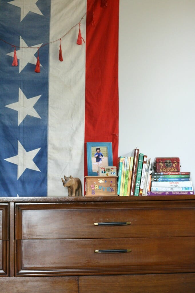 Books on Dresser with American Flag