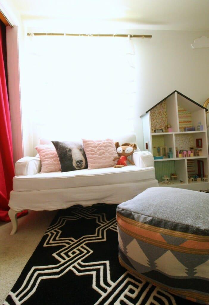 Vintage Slipcovered Settee in black white pink girl's room