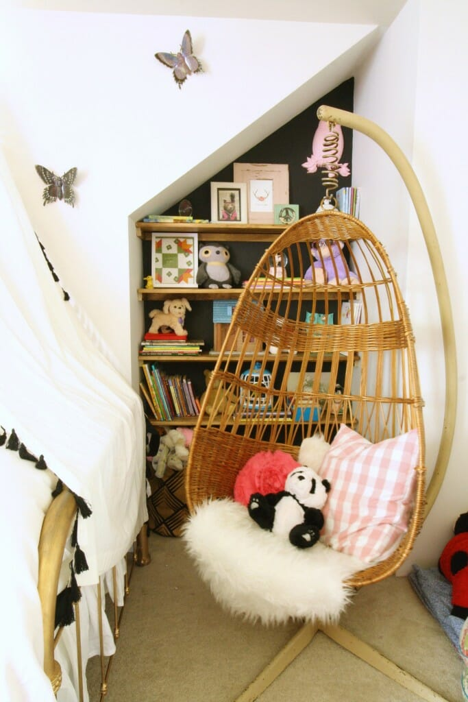 Hanging Chair and DIY Built in Shelves
