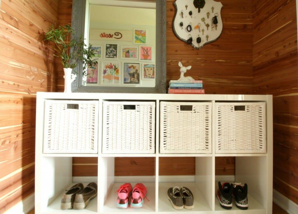 DIY Cedar Planked Closet Mudroom