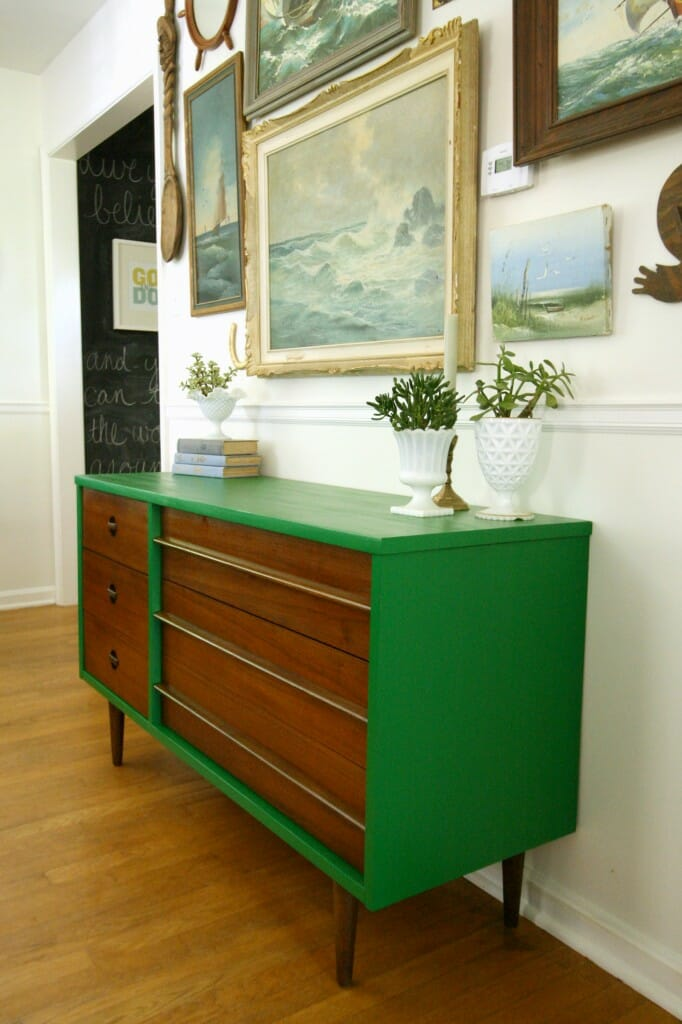 DIY Emerald & Wood Midcentury Dresser