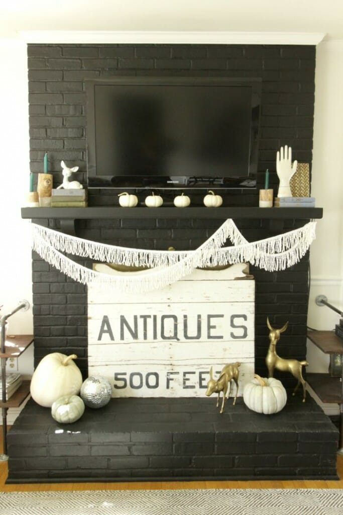 Eclectic Bohemian Fall Mantle with fringe, Muted Pumpkins, Vintage Books