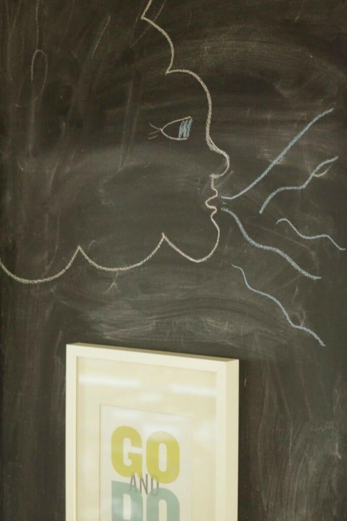 Windy Cloud on chalkboard