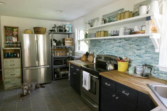 Kitchen in Aqua, white, gray, navy, mint- industrial mix