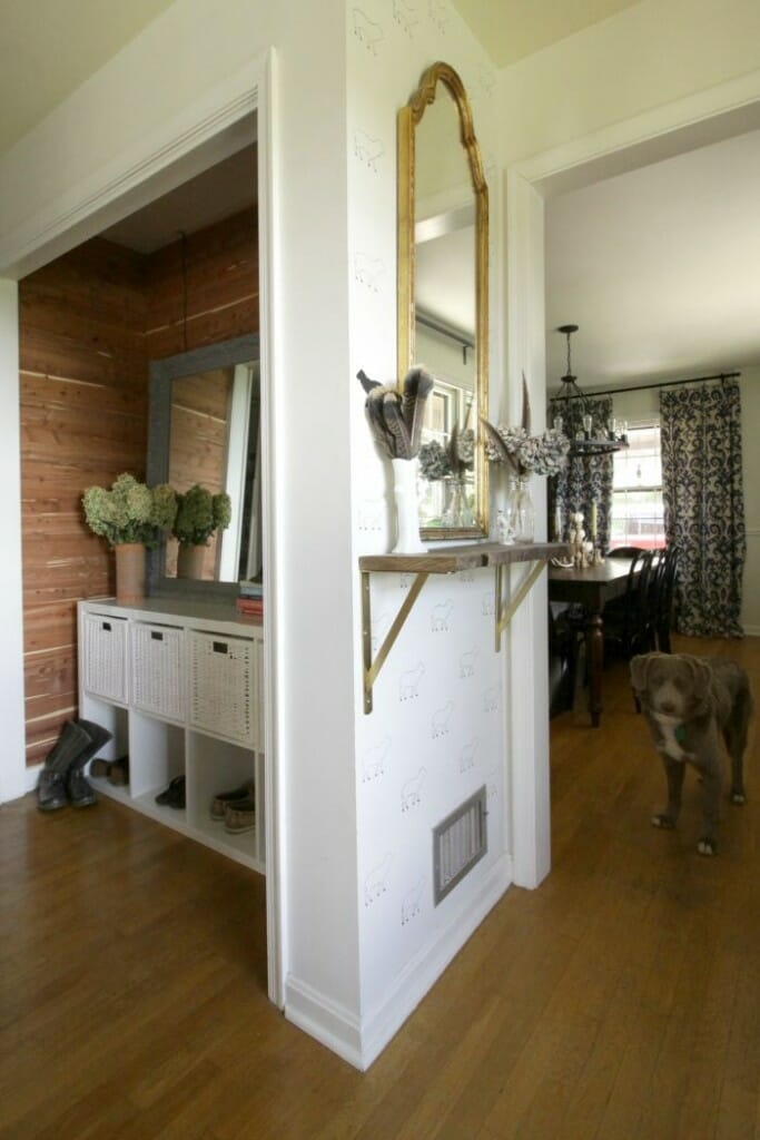 Small Entry Hall with Live Edge Shelf and Cedar Planked Mudroom