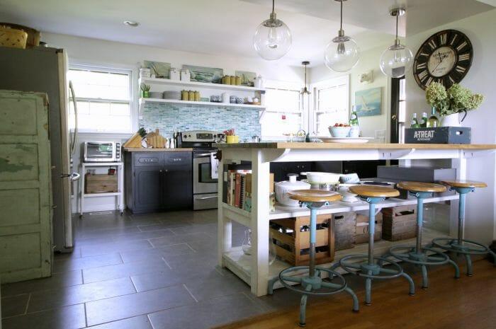 Kitchen with island, aqua, white, navy, industrial
