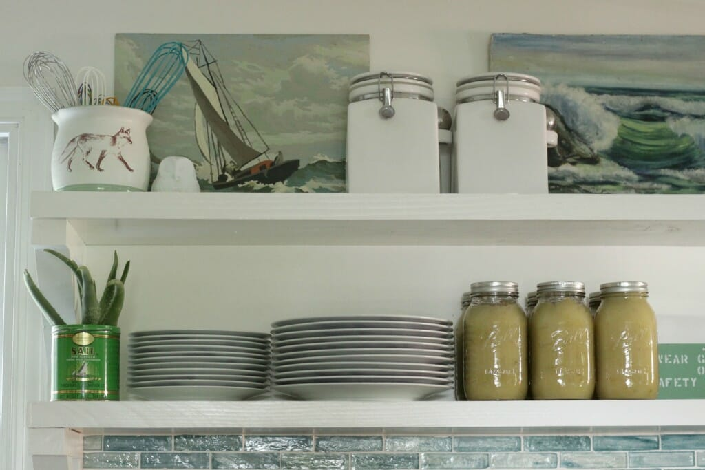Open Shelving in Kitchen with Applesauce