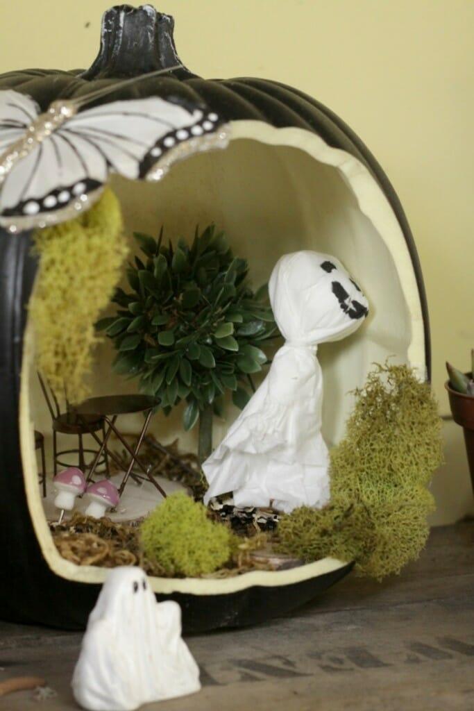 Haunted Pumpkin Halloween Fairy House