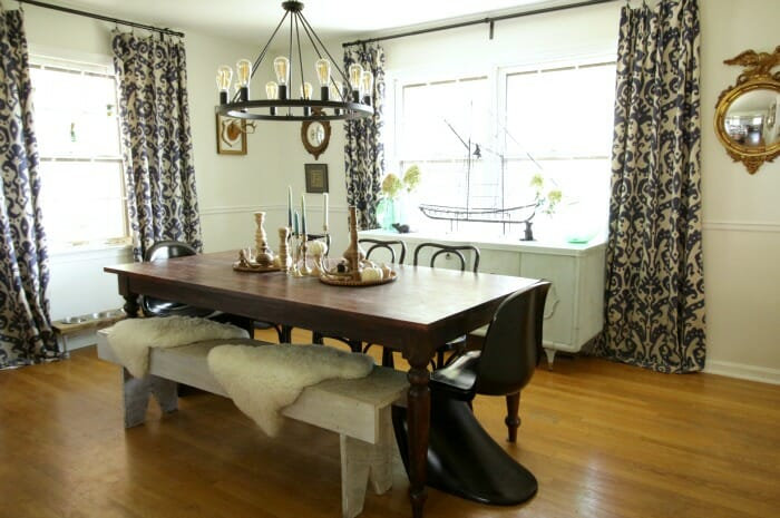 Vintage Style Lights in Dining Room