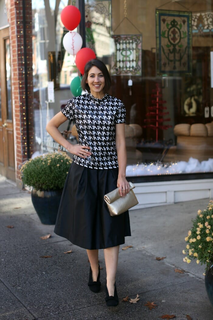 Black Sequin Houndstooth Top with Black Skirt
