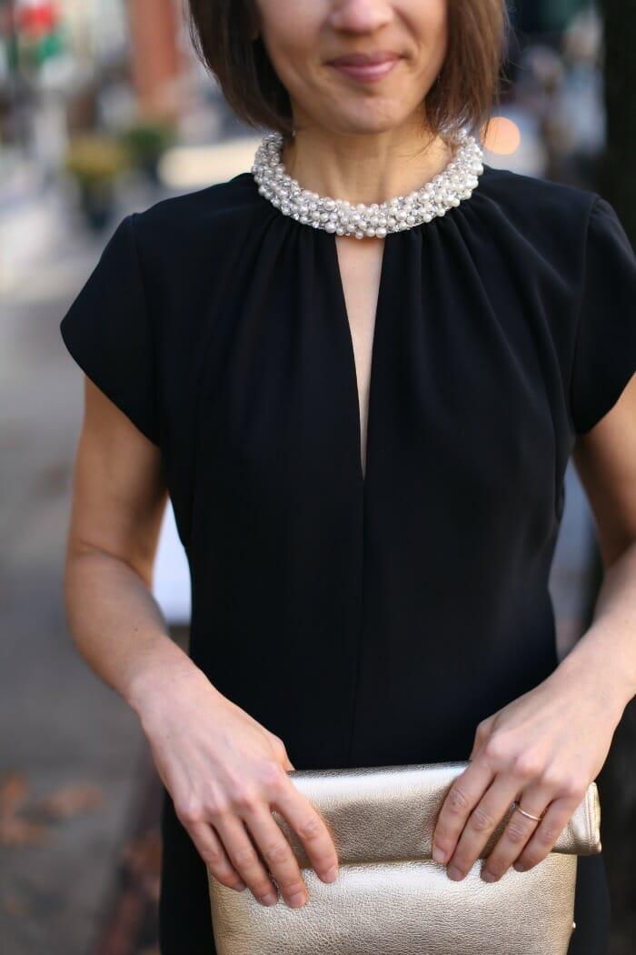 Details of Black Pearl Beaded Dress