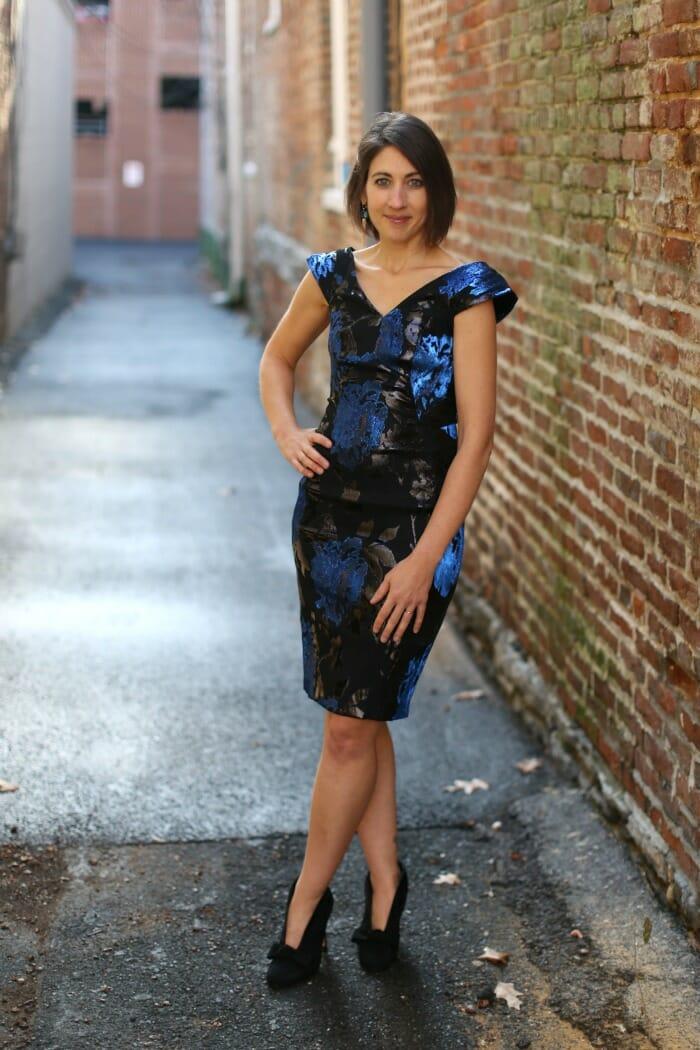 Blue Stretchy Brocade Dress
