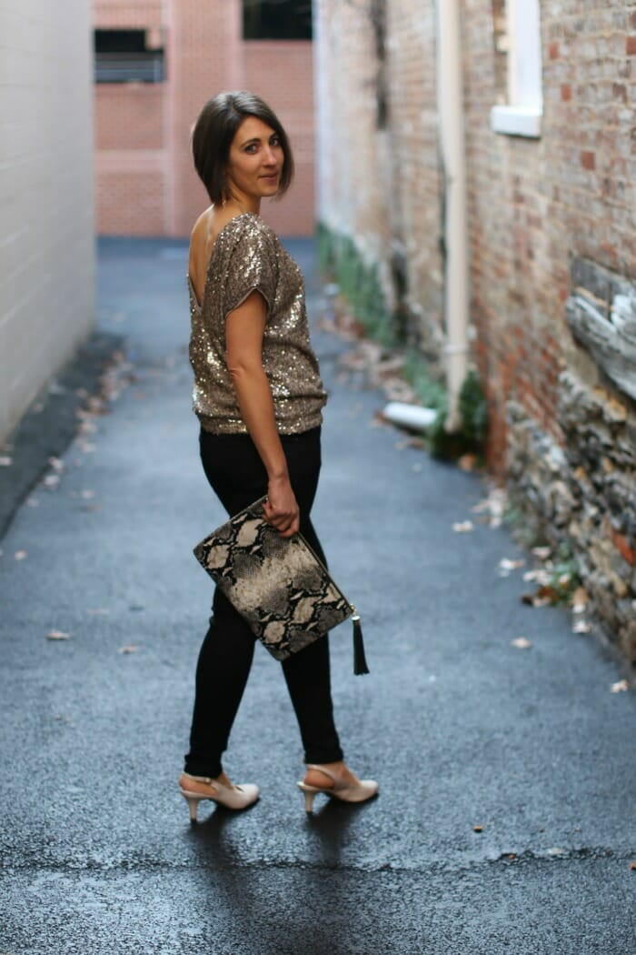 Gold Sequin top with Black Skinnies