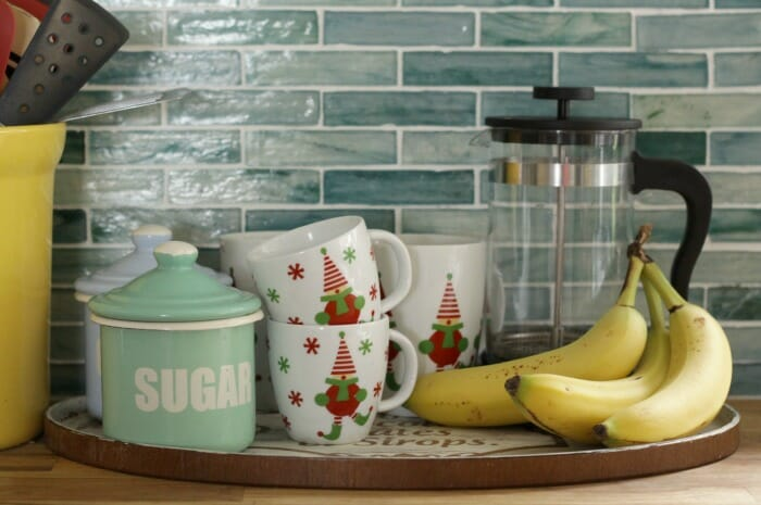 Elf mugs in the kitchen