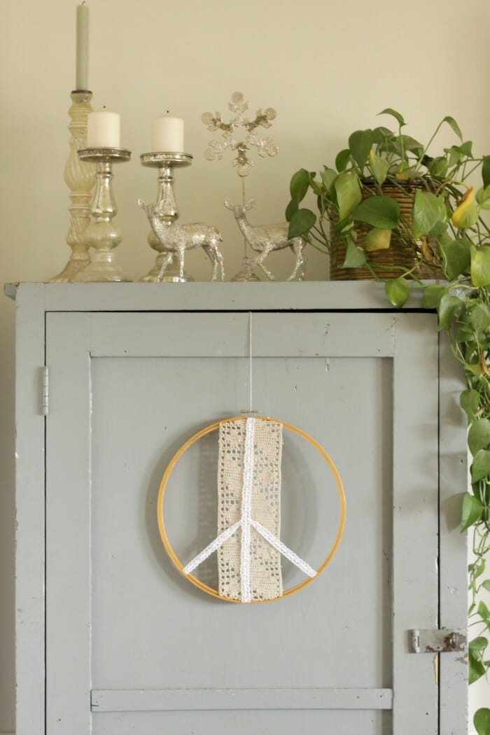 Peace Sign Wreath on Cabinet Door, vintage glitter deer and mercury glass