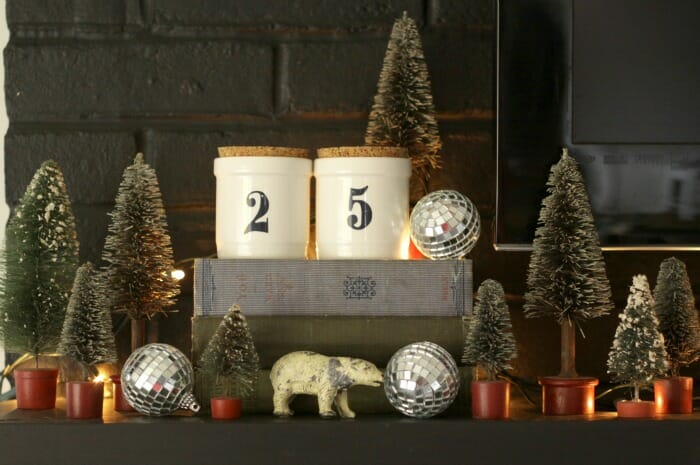 Eclectic Bottle Brush Tree Mantle