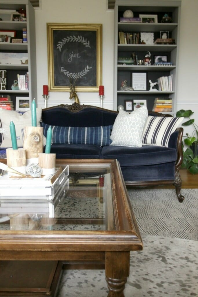 Eclectic Vintage living room at Christmas