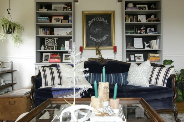 Eclectic Living Room with vintage touches at Christmas