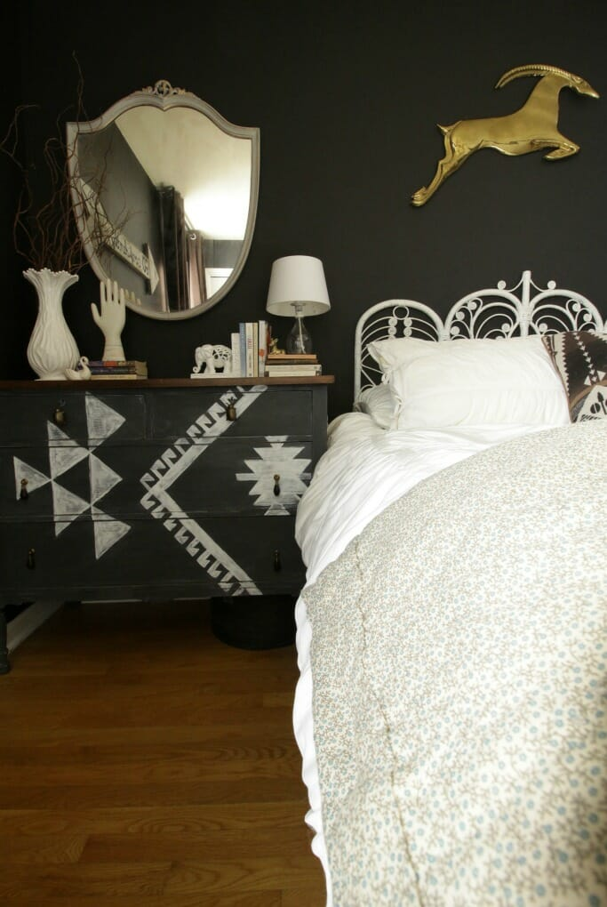 Guest Room- Black and white with Brass Gazelle