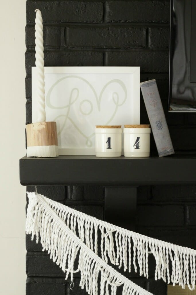 Simple Black and White Valentine's Mantle
